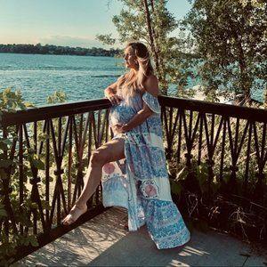 EUC FILLYBOO Carousel Sky Blue Maxi Dress